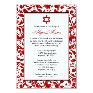 Red Swirl Damask Bat Mitzvah Invitations