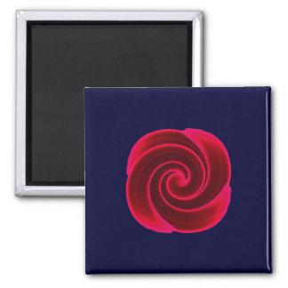 Red Swirl Flower Fridge Magnet