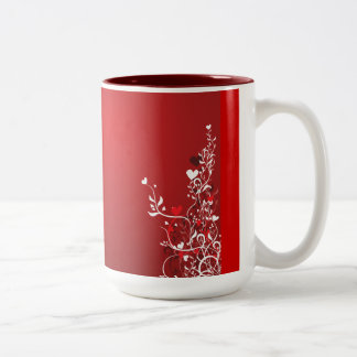 RED SWIRL HEART FLORAL DESIGN GRAPHICS backgrounds Coffee Mug