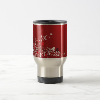 RED SWIRL HEART FLORAL DESIGN GRAPHICS backgrounds Coffee Mugs