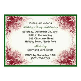 Red Swirl Holiday Celebration Party Invitations