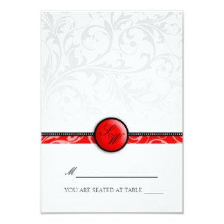 Red Swirl Monogram Folding Tent  Place Card 9 Cm X 13 Cm Invitation Card
