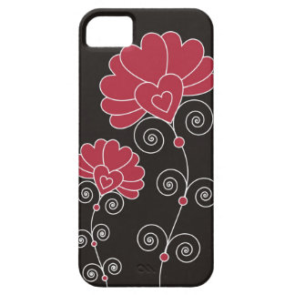 Red Swirls And Floral Pattern - Black Barely There iPhone 5 Case