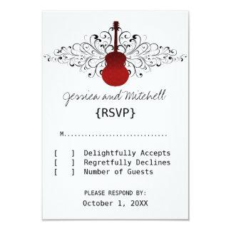 Red Swirls Guitar Response Card 9 Cm X 13 Cm Invitation Card