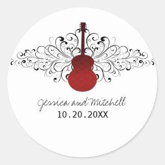 Red Swirls Guitar Wedding Stickers