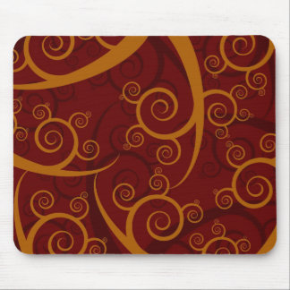 Red Swirls Mouse Pad