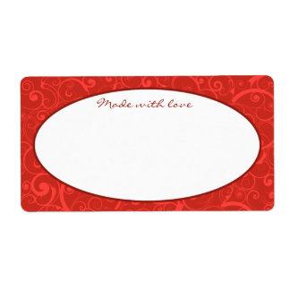 Red Swirls Text Template Shipping Label