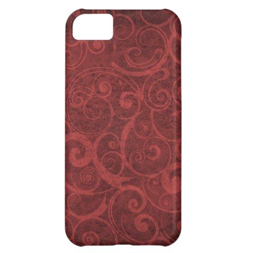 Red Swirls Texture iPhone 5C Cases