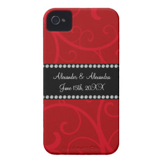 Red swirls wedding favors iPhone 4 case