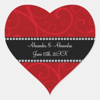 Red swirls wedding favors heart sticker