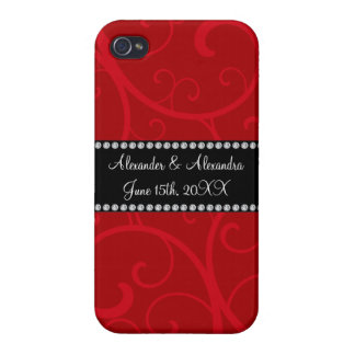 Red swirls wedding favors iPhone 4 cover