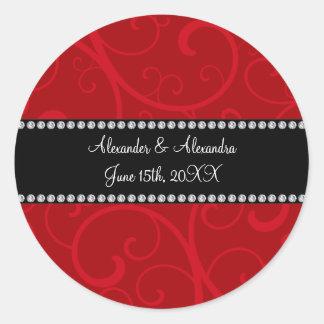 Red swirls wedding favors round sticker