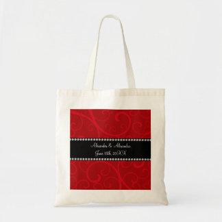 Red swirls wedding favors tote bag