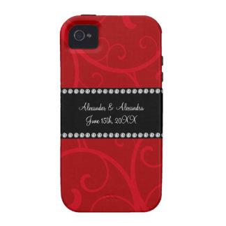 Red swirls wedding favors vibe iPhone 4 case