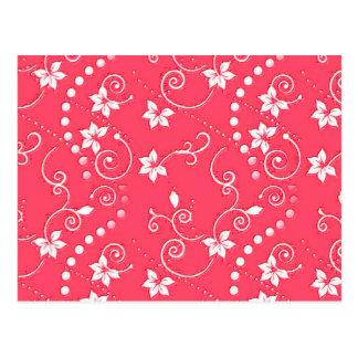 Red Swirly Flower Design Postcard