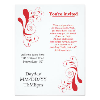Red Swirly generic invitations for any occasion