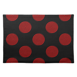 Red Swirly on Black Placemat