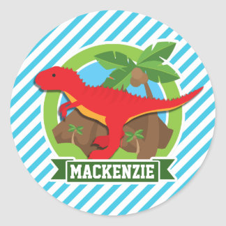 Red T-Rex Dinosaur; Blue & White Stripes Classic Round Sticker
