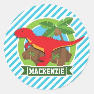 Red T-Rex Dinosaur; Blue & White Stripes Round Sticker