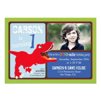 Red T-Rex Dinosaur First Birthday Invitation Card