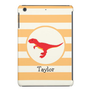 Red T-Rex Dinosaur; Orange Stripes iPad Mini Retina Cover