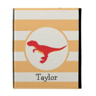 Red T-Rex Dinosaur; Orange Stripes iPad Folio Cases