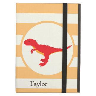 Red T-Rex Dinosaur; Orange Stripes iPad Air Cases
