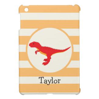 Red T-Rex Dinosaur; Orange Stripes iPad Mini Cases