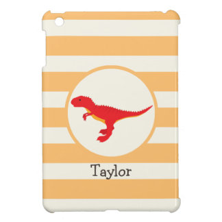 Red T-Rex Dinosaur; Orange Stripes Cover For The iPad Mini