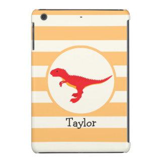 Red T-Rex Dinosaur; Orange Stripes iPad Mini Retina Covers
