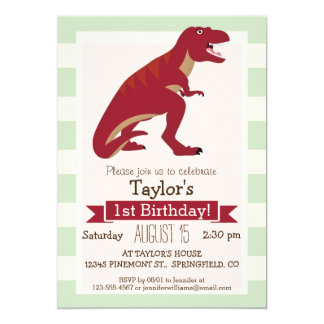 Red T-Rex on Pastel Green Stripes 13 Cm X 18 Cm Invitation Card