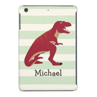 Red T-Rex on Pastel Green Stripes iPad Mini Retina Cases