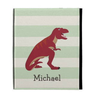 Red T-Rex on Pastel Green Stripes iPad Folio Cases