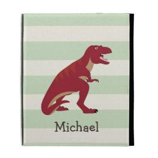 Red T-Rex on Pastel Green Stripes iPad Folio Cases