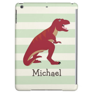 Red T-Rex on Pastel Green Stripes