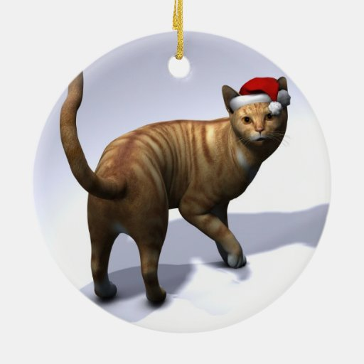 Red  Tabby with Santa Hat Christmas Tree Ornaments