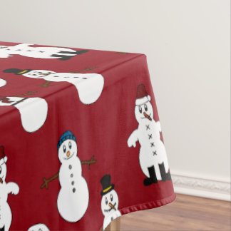 Red Tablecloth white cute snowman Christmas