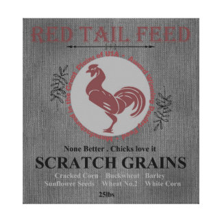 Red Tail Feed Grain Sack Artwork Rooster Red Gray Canvas Print