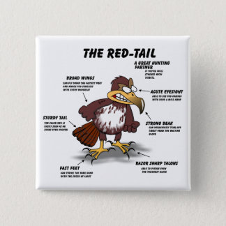Red-tail Hawk Cartoon 15 Cm Square Badge