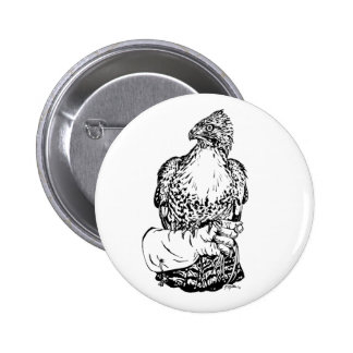 Red-tail Hawk on Glove 6 Cm Round Badge