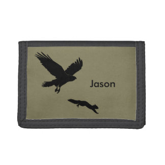 Red tail on squirrel silouette tri-fold wallet