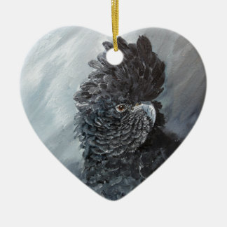 Red tailed black Cockatoo gifts for parrot lovers Ceramic Heart Decoration
