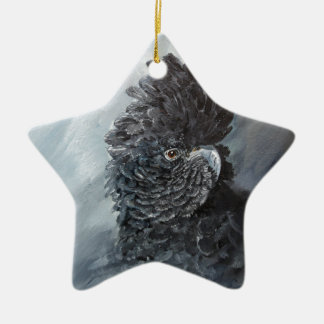 Red tailed black Cockatoo gifts for parrot lovers Ceramic Star Decoration