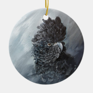 Red tailed black Cockatoo gifts for parrot lovers Round Ceramic Decoration