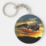 Red tailed hawk basic round button key ring