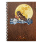 Red-Tailed Hawk & Moon on Faux Leather Notebook