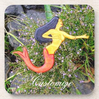 Red-tailed sirena mermaid beverage coaster