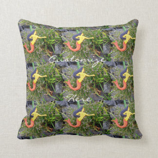 red-tailed sirena  mermaids throw pillow