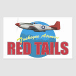 Red Tails Tuskegee Airmen with P-51 Rectangular Sticker