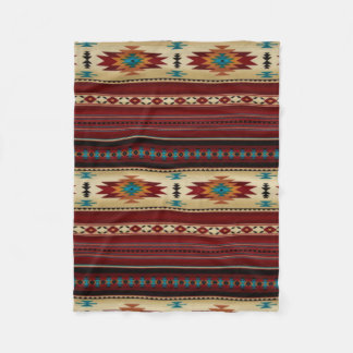 RED/TAN Aztec Print Fleece Blanket